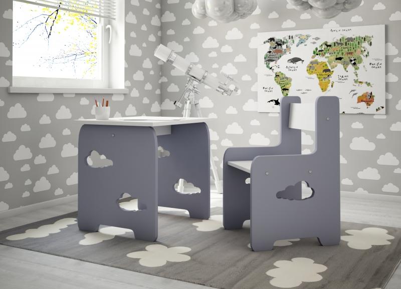 NELLYS Sada nábytku Obláčik - Stôl + stoličky -  šedá s bílou  D19