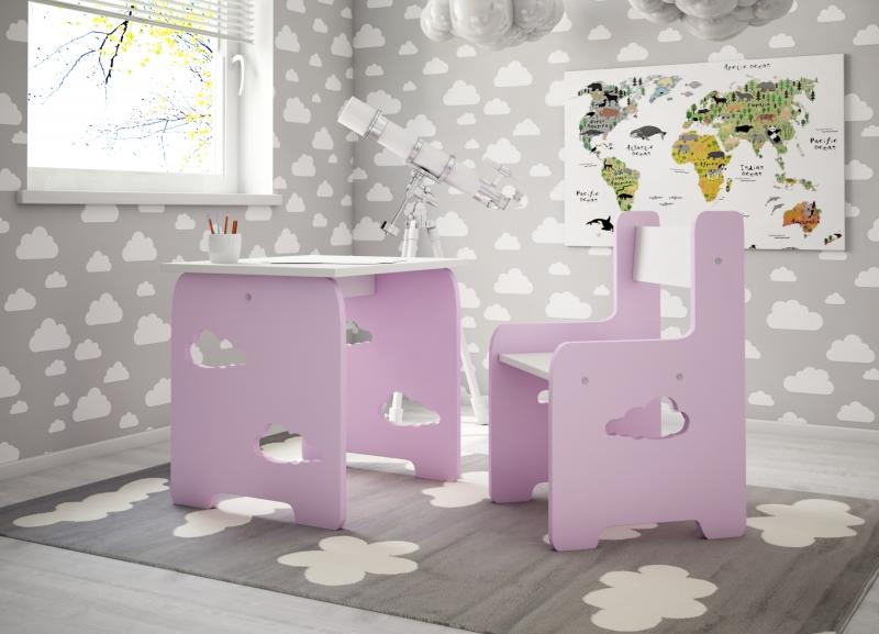 Sada nábytku Obláčik - Stôl + stoličky -  ružová s bielou  D19