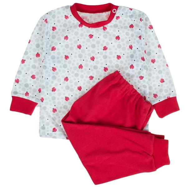 MBaby Bavlnené pyžamko Lienky - biele, roz. 86