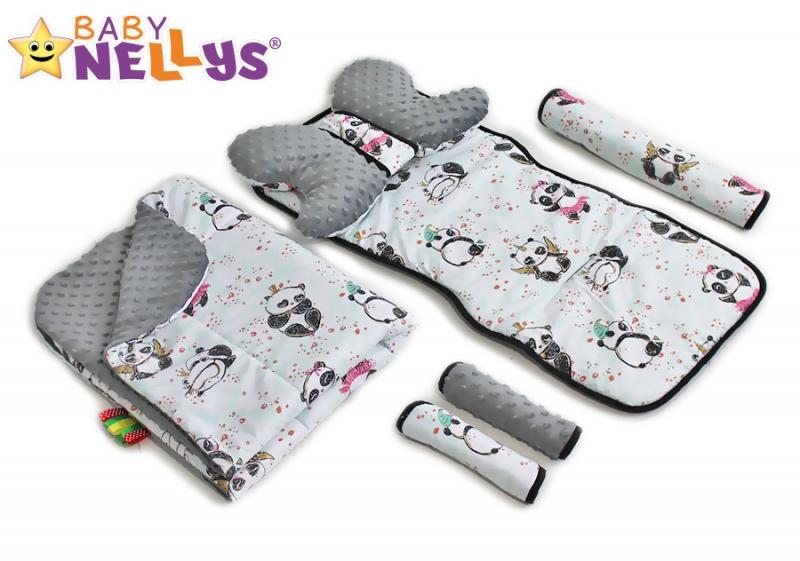 Baby Nellys Komplet do kočíka - podložka, polštářek, potah na popruhy a barierku č. 5  D19