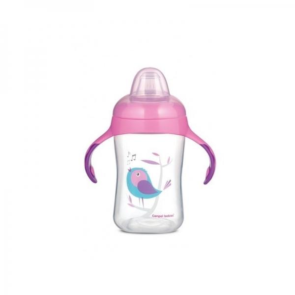 Tréningový hrnček Canpol Babies s úchytmi Birds - ružový