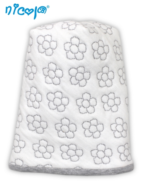 Nicol Dojčenská čiapka Lady biela - potlač kvetinky, veľ. 80/86