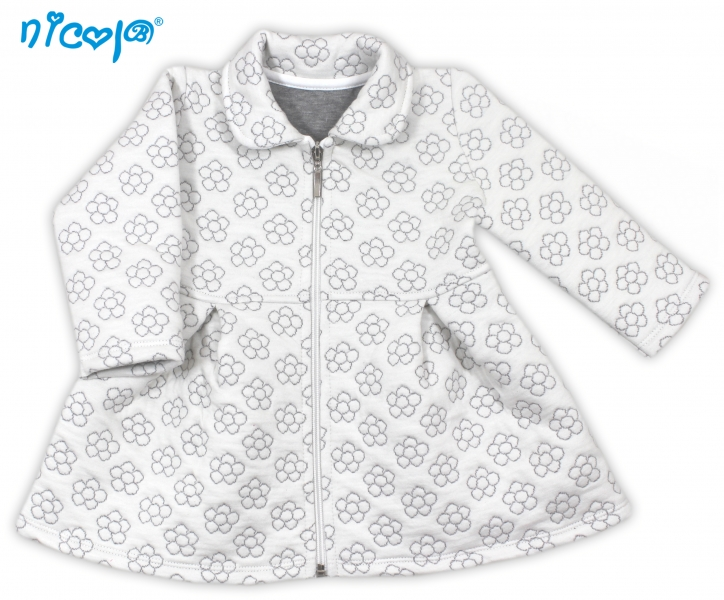 Nicol Dojčenský kabátik Lady - biely s kvetinkami-68 (4-6m)