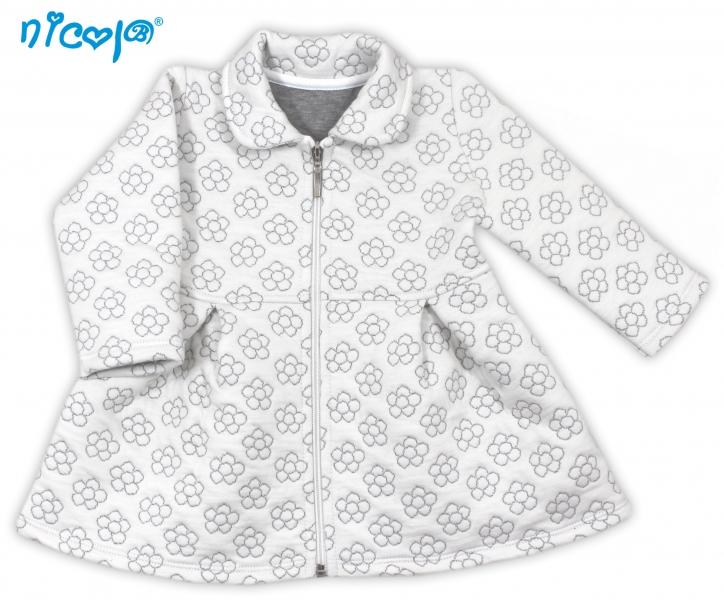 Nicol Dojčenský kabátik Lady - biely s kvetinkami, veľ. 98-98 (24-36m)
