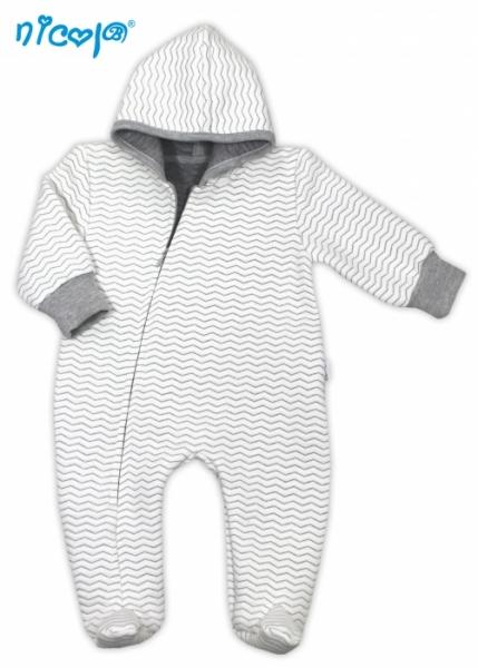 Dojčenský overal / kombinéza Lady s kapucňou, prešívaný - bielo/sivý, veľ. 56