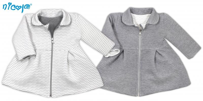 Nicol Dojčenský kabátik Lady - biely/sivý, veľ. 104-104