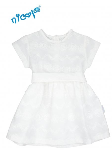 Dojčenské šaty Lady - biele, krátky rukáv, veľ. 98