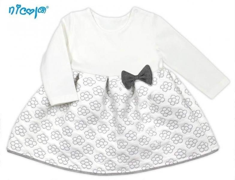 Nicol Dojčenské šaty Lady - biele s potlačou kvetín, veľ. 80-80 (9-12m)