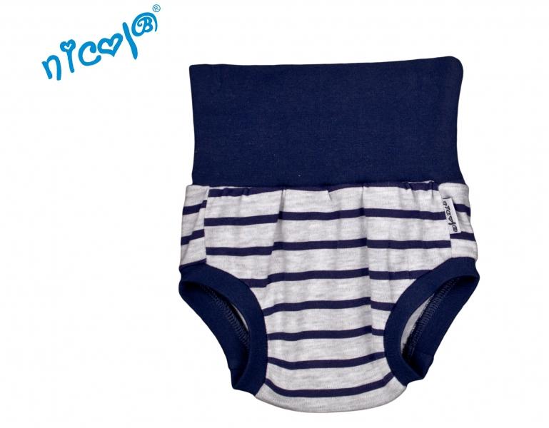 Bavlnené nohavičky, kraťasky Nicol Car - sivé, pruhy granátové-0/3měsíců