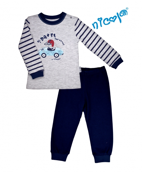 Detské pyžamo Nicol, Car - sivé / granátové