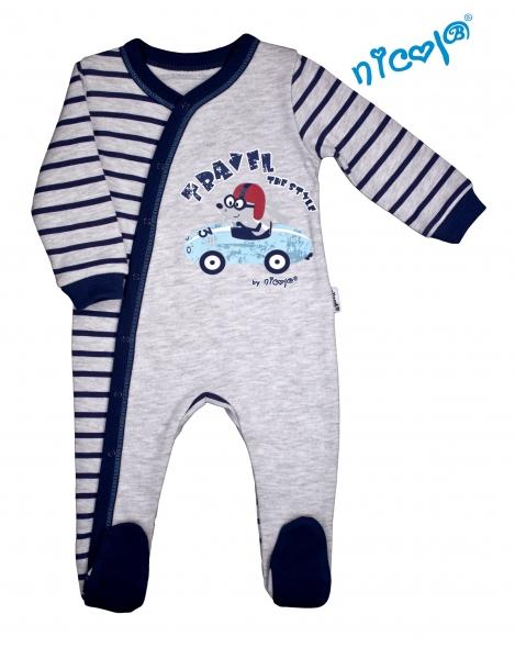 Dojčenský overal Nicol, Car - šedý s pruhmi-48