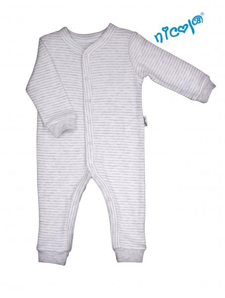 Dojčenský overal Nicol, Car - sivý jemný průžok, veľ. 86-86 (12-18m)
