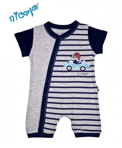Body s nohavičkami Nicol - krátky rukáv, Car - sivé, veľ. 62-62 (2-3m)