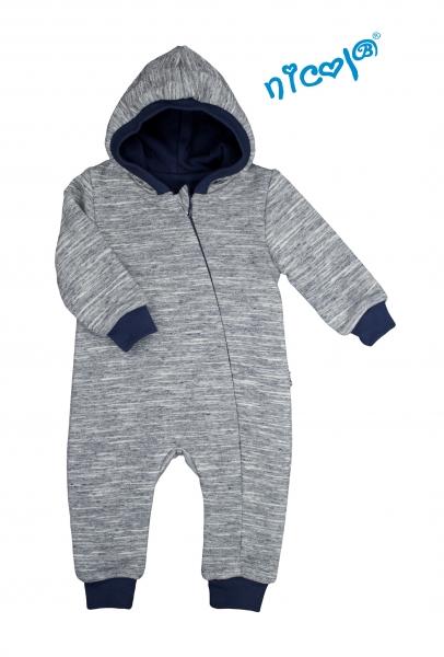 Dojčenský overal / kombinéza Nicol s kapucňou, oteplenie, Car - šedo / granátový, veľ. 80-80 (9-12m)