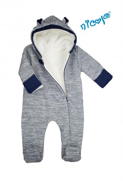 Dojčenský overal / kombinéza Nicol s kapucňou, oteplenie, Car - šedo /biely, veľ. 80-80 (9-12m)