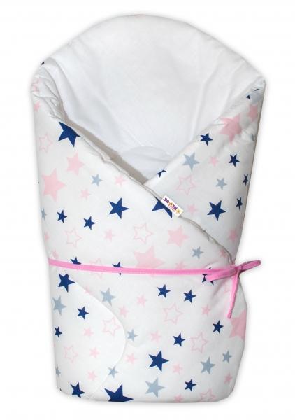 Zavinovačka na zaväzovanie Baby Nellys Hviezdy a hviezdičky  - ružová/granát na bielom