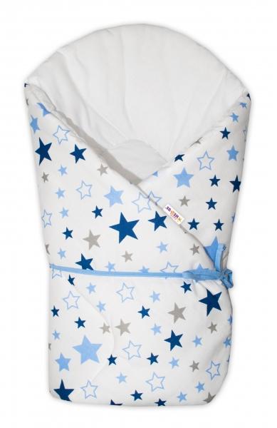 Zavinovačka na zaväzovanie Baby Nellys Hviezdy a hviezdičky  - modrá/granát na bielom