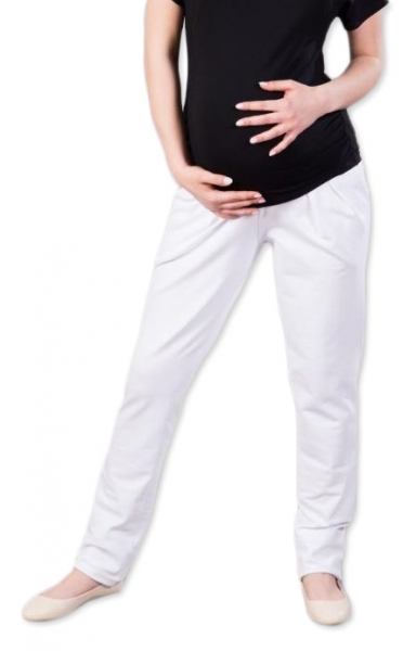 Tehotenské nohavice/tepláky Gregx, Awan s vreckami - biele, veľ. XXXL