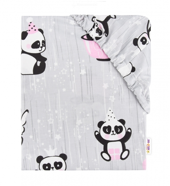 Baby Nellys Detské bavlnené prestieradlo do postieľky, 140x70 cm - Happy Panda - ružové