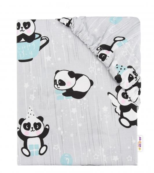 Baby Nellys Detské bavlnené prestieradlo do postieľky, 140x70 cm - Happy Panda - mátové