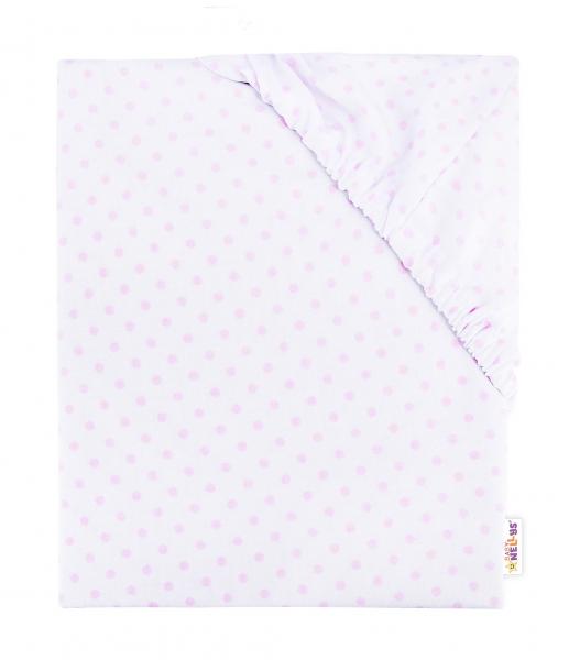 Baby Nellys Detské bavlnené prestieradlo do postieľky, 140x70 cm - Bodki - ružové