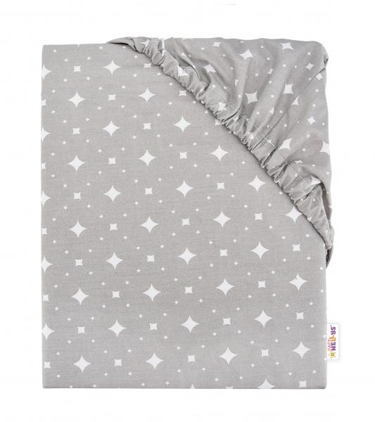 Baby Nellys Detské bavlnené prestieradlo do postieľky, 140x70 cm - Kárko - sivé