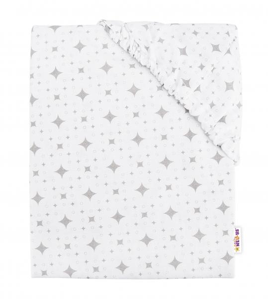 Baby Nellys Detské bavlnené prestieradlo do postieľky, 140x70 cm - Kárko - biele