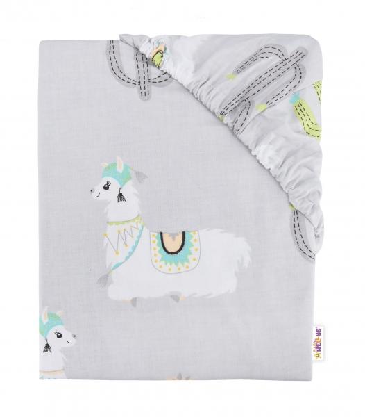 Baby Nellys Detské bavlnené prestieradlo do postieľky, 140x70 cm - Lama - sivé