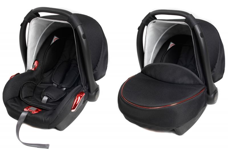 Detská autosedačka / vajíčko RED METALIC - čierna / červená