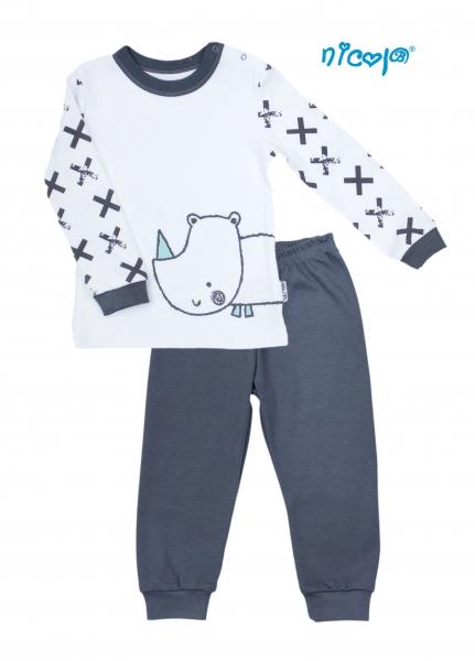 Detské pyžamo Nicol, Rhino - biele/grafit, veľ. 92