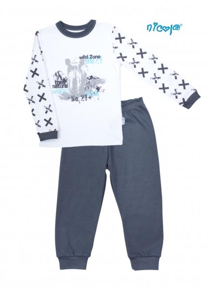 Detské pyžamo Nicol, Rhino - biele/grafit, veľ. 116-116