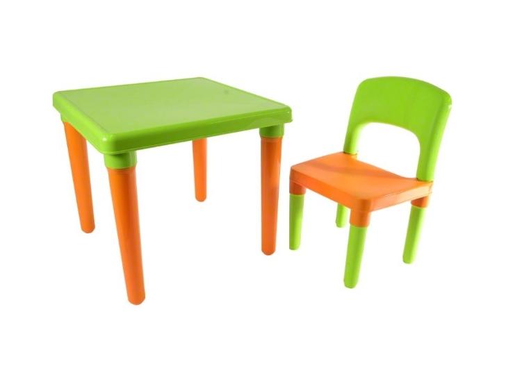 Tutumi Sada nábytku pre deti Pikolo stolík + stolička - zeleno/oranžová