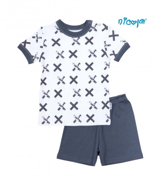 Detské pyžamo krátke Nicol, Rhino - biele/grafit, veľ. 128