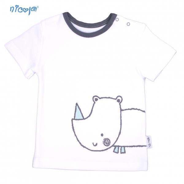 Bavlnené tričko krátky rukáv Nicol, Rhino - biele, Veľ. 86