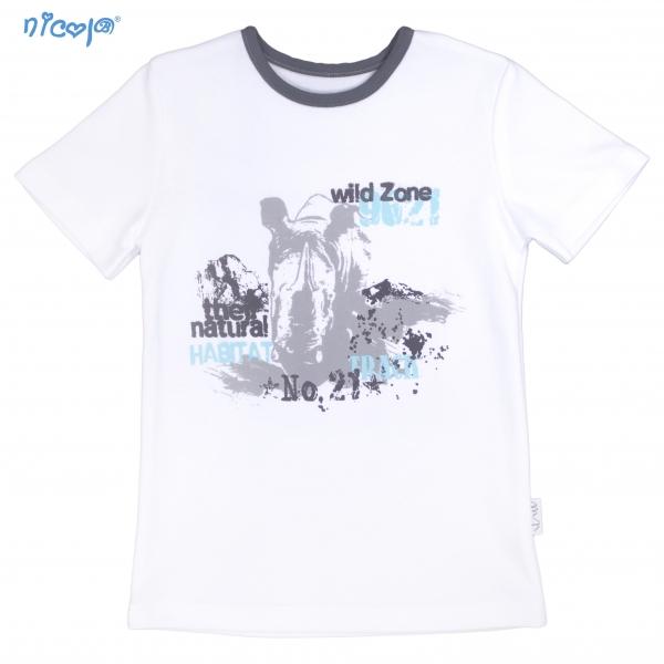 Bavlnené tričko krátky rukáv Nicol, Rhino - biele, veľ.128-#Velikost koj. oblečení;128