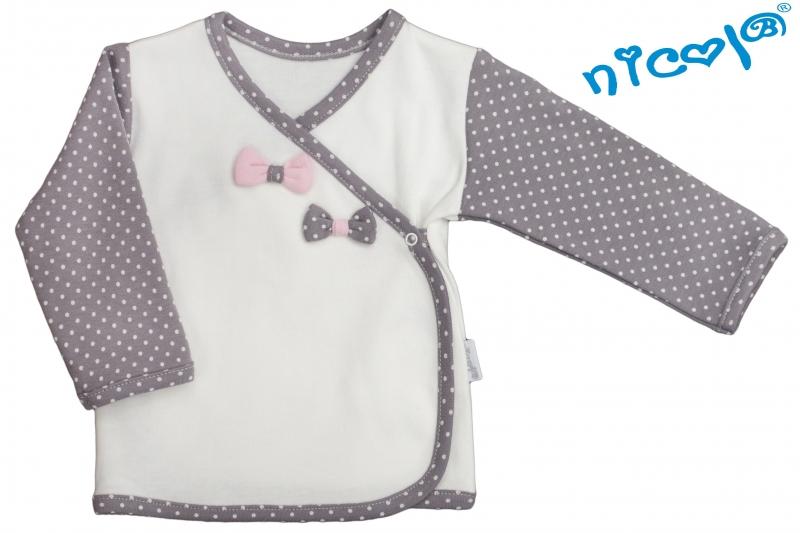Novorodenecká košieľka Nicol, Paula - zapínanie bokom - bielo/sivá
