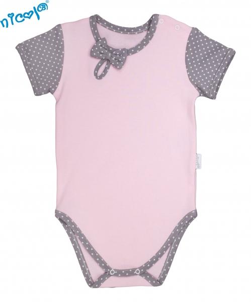 Body Nicol, Paula - krátky rukáv - růžovo/sivé, veľ. 80-80 (9-12m)