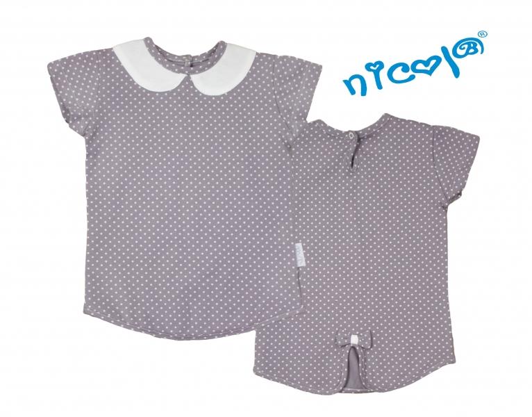 Bavlnené tričko Nicol, Paula - krátky rukáv, sivé-56 (1-2m)