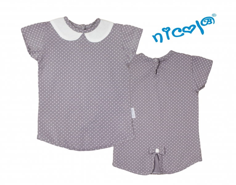 Bavlnené tričko Nicol, Paula - krátky rukáv, sivé, veľ. 74-74 (6-9m)