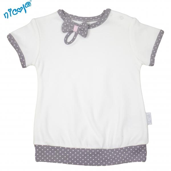 Bavlnené tričko Nicol, Paula - krátky rukáv, biele, veľ. 68-68 (4-6m)