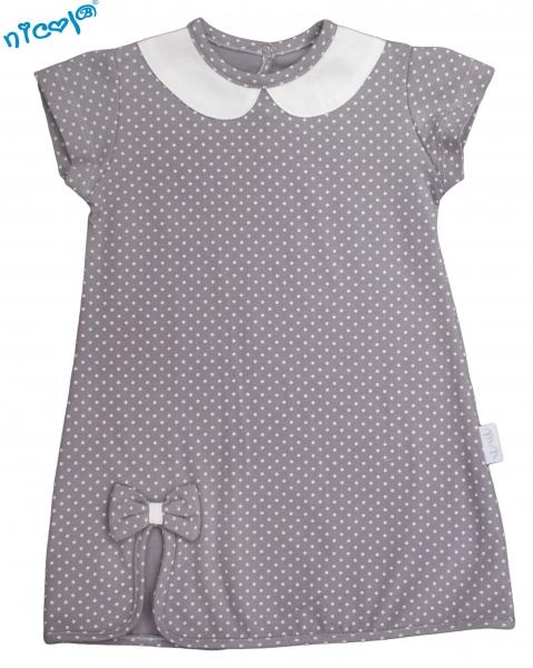 Dojčenské šaty Nicol, Paula - sivé, veľ. 74