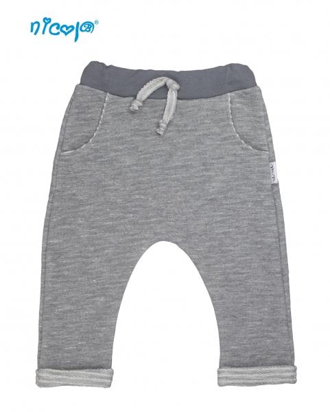 Kojenecké bavlnené tepláky Nicol, Rhino - sivé-56 (1-2m)