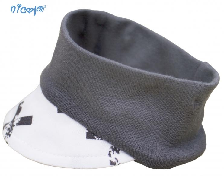 Dojčenská čelenka so šiltom Nicol Rhino - biely/grafit-56/62