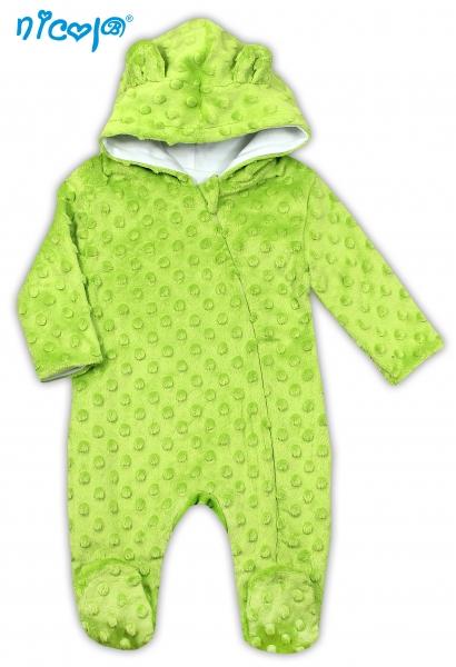 Dojčenská kombinéza / overal Nicol, Bubble Minky - zelená, veľ. 74