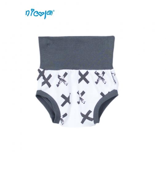 Bavlnené nohavičky, kraťasky Nicol Rhino - biele/grafit, Veľ. 3-6m