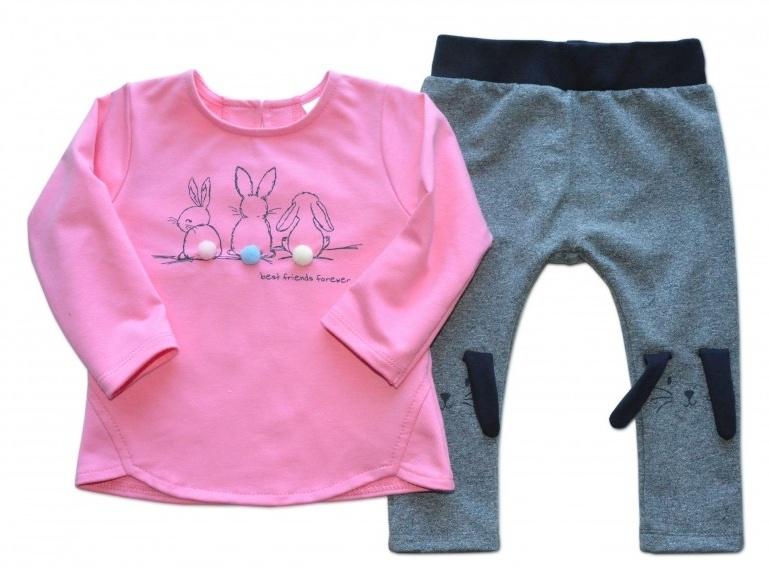 K-Baby Tepláková súprava Best Friends - ružová/melírek grafit, veľ. 80-80 (9-12m)
