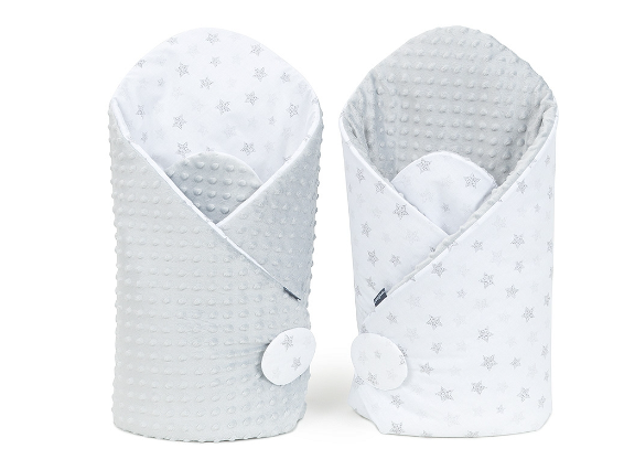 Mamo Tato Obojstranná zavinovačka Minky Baby - Stars sivé na  bielom/sivé