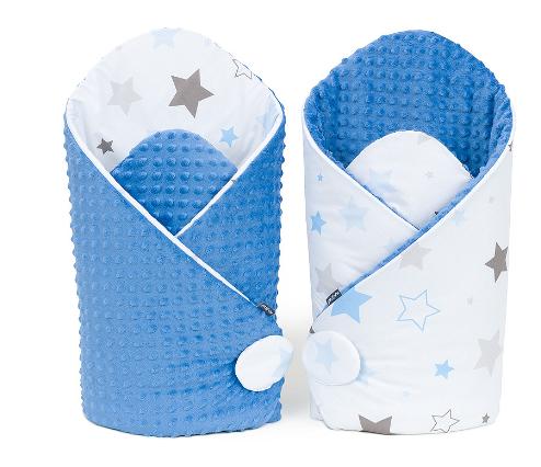 Mamo Tato Obojstranná zavinovačka Minky Baby - Big Stars sivé, modré/jeans