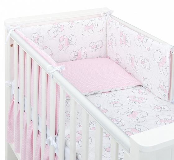 Mamo Tato 3-dielny set do postieľky s mantinelom - Macko růžový, 135 x 100 cm-135x100