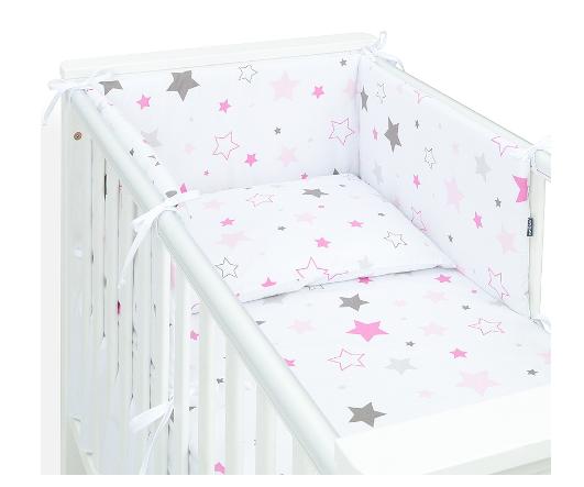Mamo Tato 3-dielny set do postieľky s mantinelom - Big Stars ružové